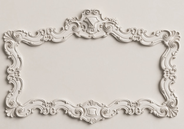 Classic mirror white frame on the white wall.  3d rendering Premium Photo