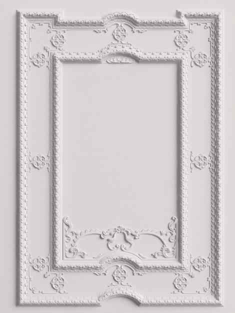 Classic mirror white frame on the white wall.  3d rendering Premium Photo