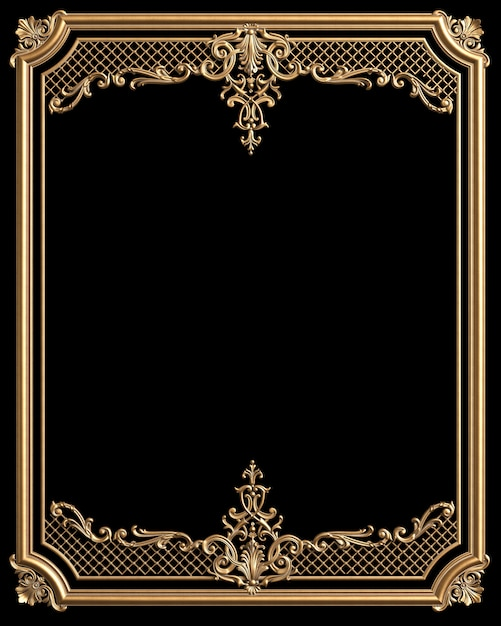 Classic moulding frame with ornament decor for classic interior isolated on black background Premium Photo