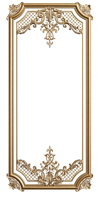 Classic moulding golden frame with ornament decor for classic interior isolated Premium Photo
