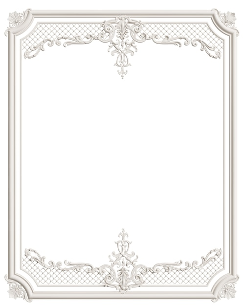 Classic moulding white frame with ornament decor for classic interior isolated Premium Photo