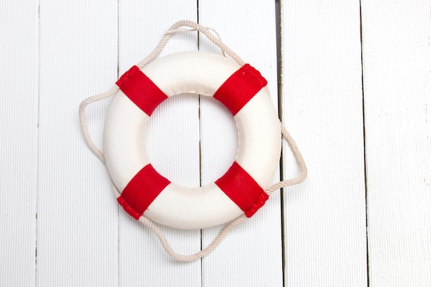 Classic red and white lifeguard buoy Premium Photo