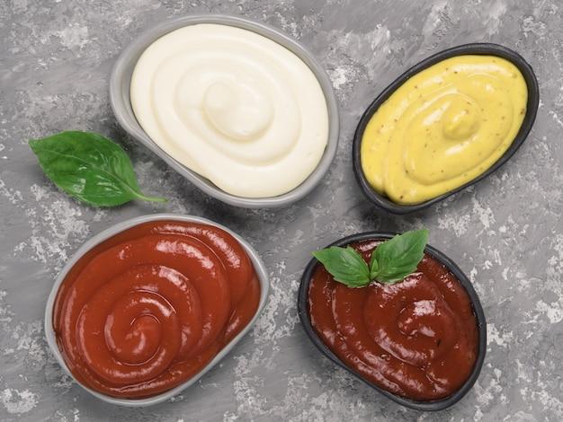 Classic sauces set on gray Premium Photo