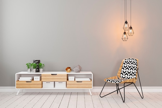 Klasyczne skandynawskie szare puste wnętrze z komodą, krzesłem, lampą na poddaszu i roślinami.  Ilustracja renderowania 3D.  Zdjęcie Premium
