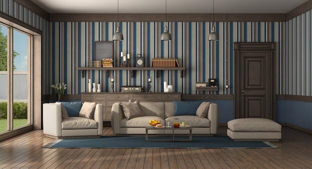 현대적인 소파와 안락 의자가있는 고전적인 스타일의 거실입니다. 오래 된 문 및 서랍장-3d 렌더링 프리미엄 사진
