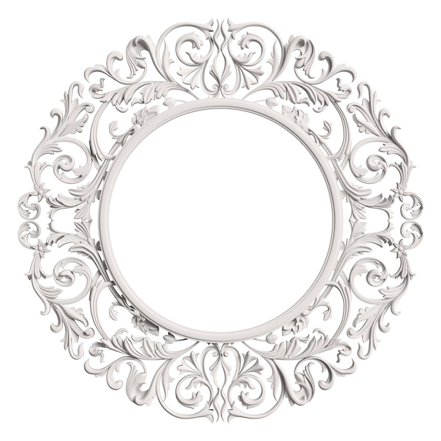 Classic  white frame with ornament decor isolated Premium Photo