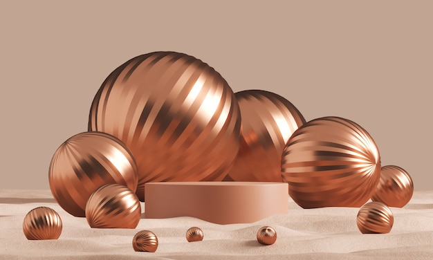 The clay cylinder podium set amid many wrinkled champagne ball in the desert, abstract minimal background for ads branding and product presentation. 3d rendering Premium Photo