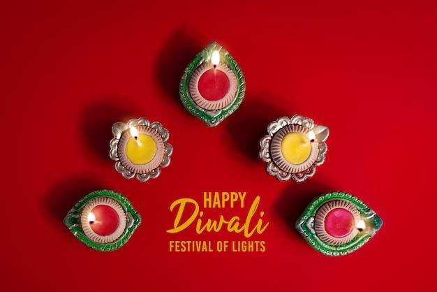 Clay diya lamps lit during dipavali, hindu festival of lights celebration. Premium Photo