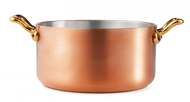 Clean and shiny copper pot isolated on white background Premium Photo