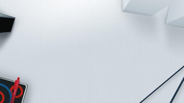 Clean white desk mockup Premium Photo