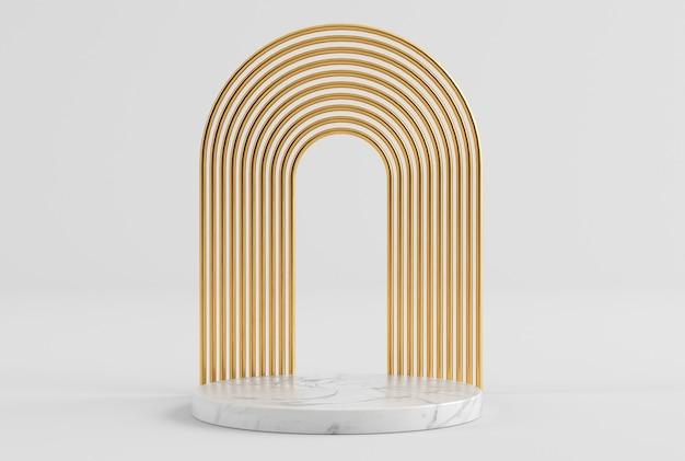금과 대리석 3d 렌더링의 깨끗한 화이트 골드 제품 프레젠테이션 받침대 프리미엄 사진