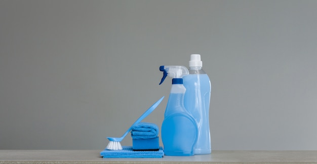 Cleaning blue set. cleaning tools and products. Premium Photo