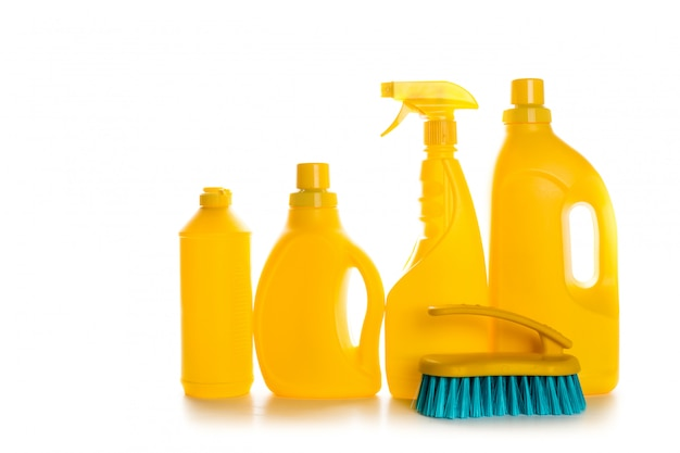 Cleaning product plastic container for house clean on white background Premium Photo