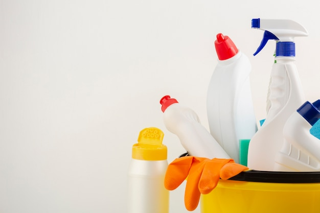 Cleaning products with copy space Free Photo