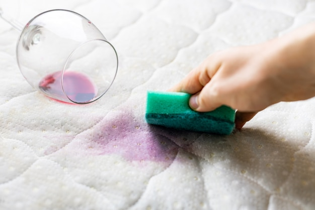 Cleaning wine stain with sponge. spilled wine on white bed sheet Premium Photo