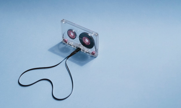 Clear cassette tape with shaped heart and copy-space Free Photo
