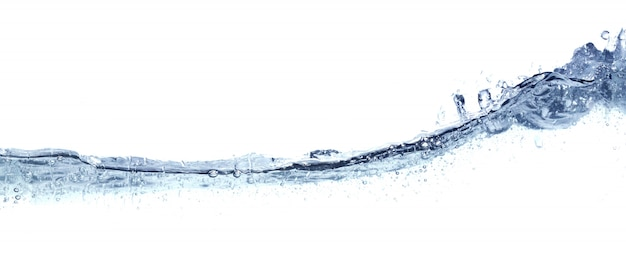 Clear wavy water isolated on white. Premium Photo