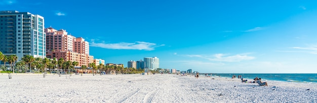Clearwater beach with beautiful white sand in florida usa Premium Photo