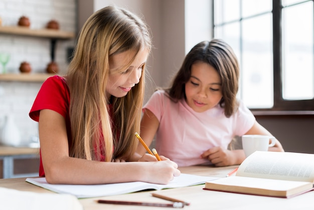 Clever multiethnic girls doing homework together Free Photo