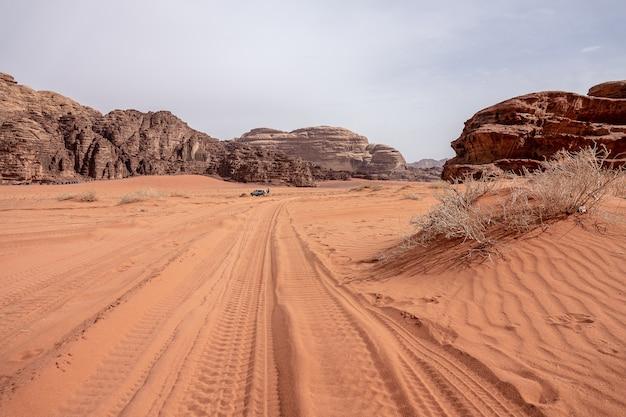 昼間の曇り空の下で乾いた草でいっぱいの砂漠の崖と洞窟 無料写真