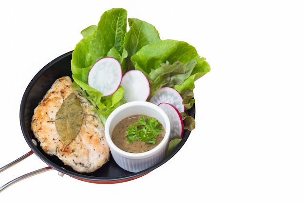 Clipping path of selective focus of chicken steak. Premium Photo