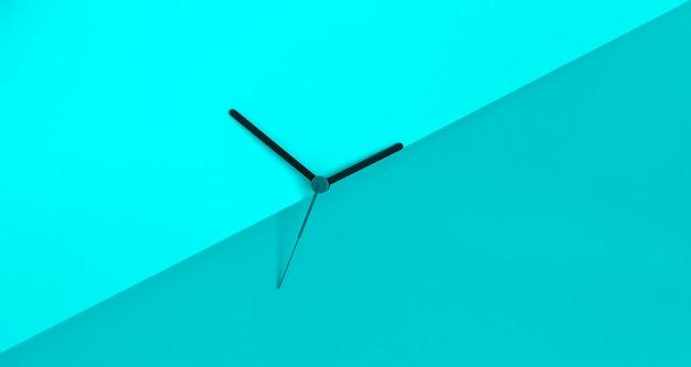 단색 블루 Coloure 블록 배경에 시계 손. 일광 절약 시간 개념입니다. 계절 시간 변경. 여름 시간 개념입니다. 공간을 복사하십시오. 프리미엄 사진