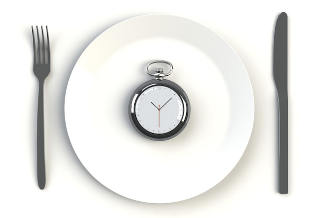 Clock on plate, knife and fork on white table, 3d rendering Premium Photo