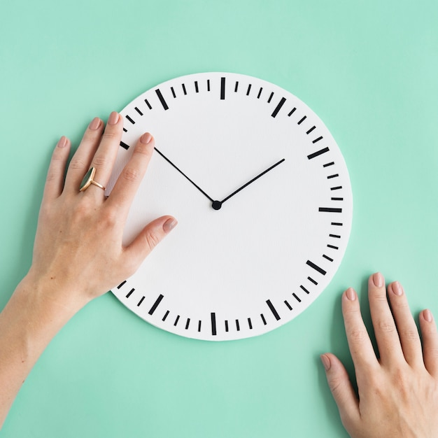 Clock time second minute hour puntual circle concept Premium Photo