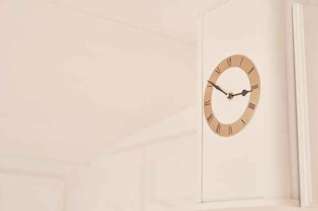 Clock on white wall in motor home Premium Photo