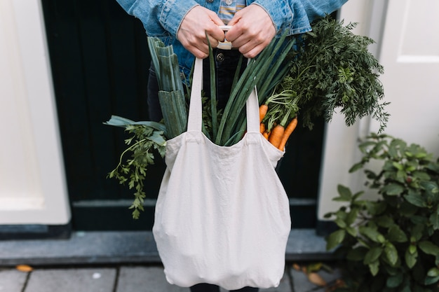 Close of a person holding white shopping grocery bag filled with vegetables Free Photo