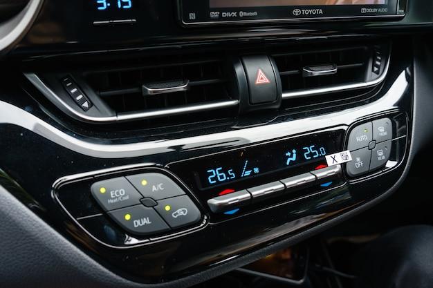 Close up of air conditioner in car, automobile detail. Premium Photo