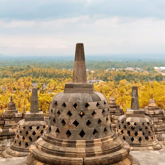 Close-up of ancient stupa in borobudur buddhist temple in java, indonesia Premium Photo