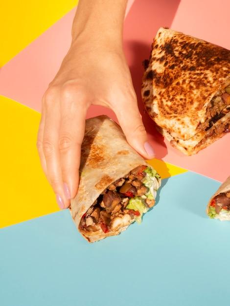 おいしいメキシコ料理のクローズアップアレンジ 無料写真