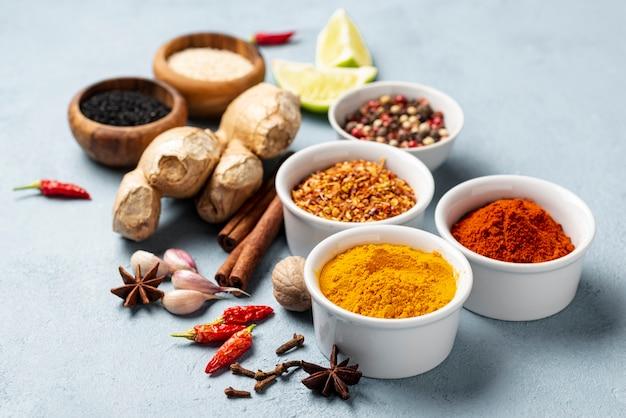 Close-up asian food ingredients arrangement Free Photo