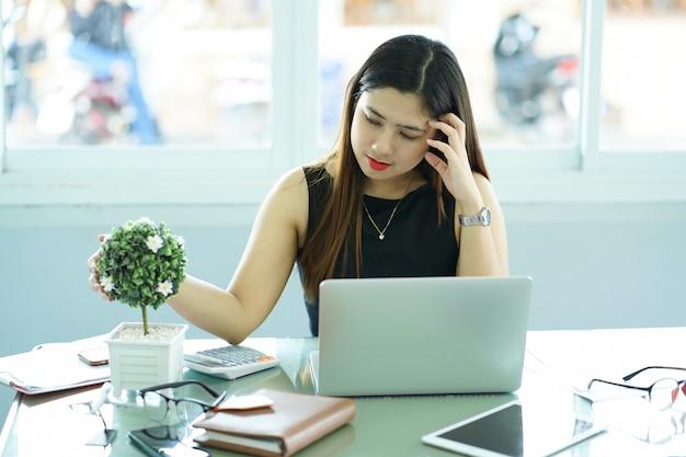 Premium Photo   Close up asian woman stress with work job