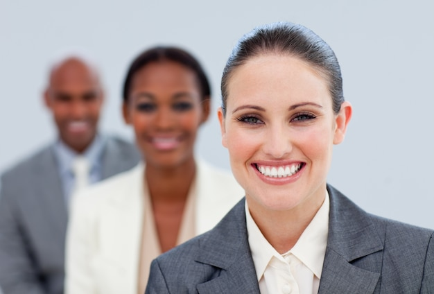 Close-up of an attractive manager and her team Premium Photo