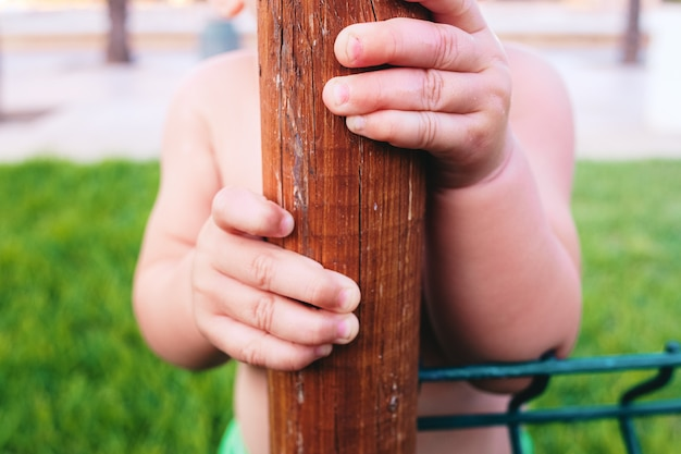 Close-up of a baby's hand clutching a trunk to support his learning to walk. Premium Photo