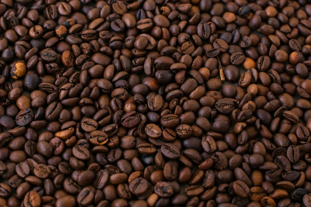 Close-up background of coffee beans Free Photo