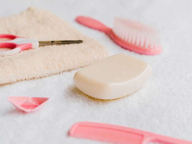 Close-up bath accessories for baby Free Photo