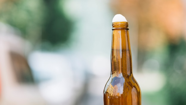 Close-up of a beer bottle Free Photo