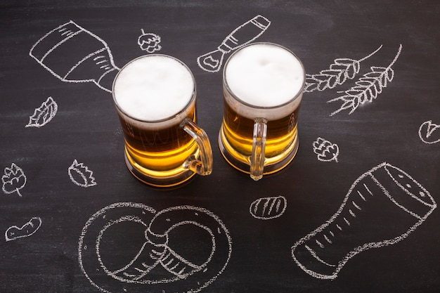 Close-up beer with chalkboard background Free Photo