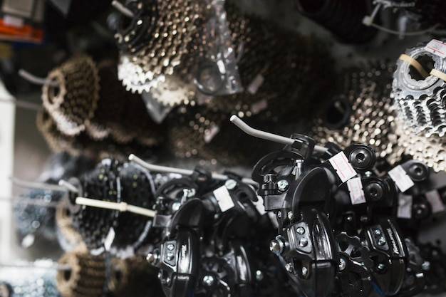 Close-up of bicycle parts in workshop Free Photo