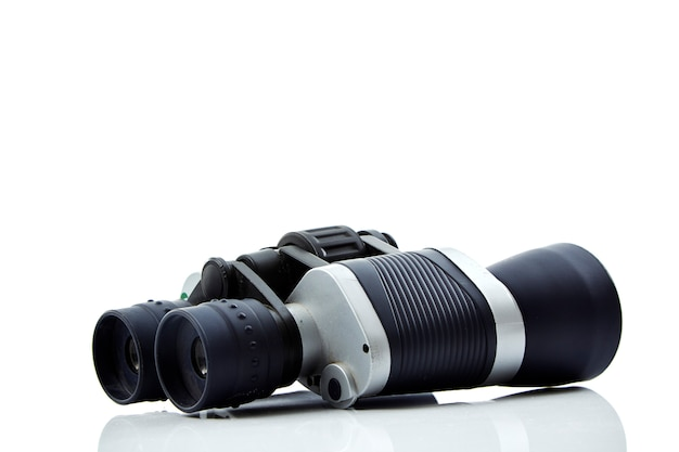 Close-up of binoculars  white background Premium Photo