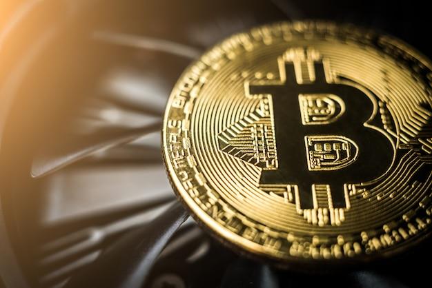 Close-up of bitcoin coin Premium Photo
