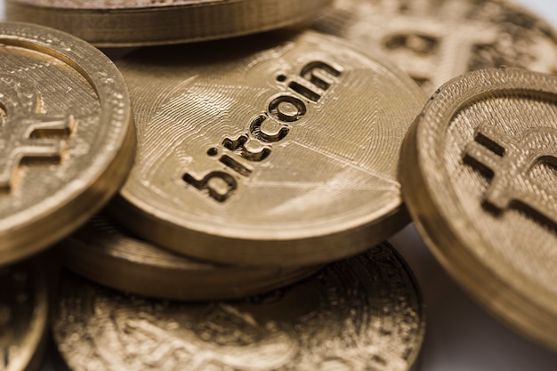 Close-up of bitcoins Free Photo