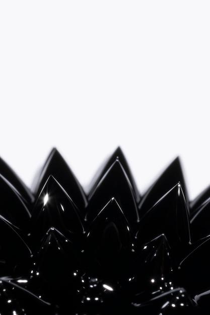 Close-up black ferromagnetic liquid metal with copy space Free Photo