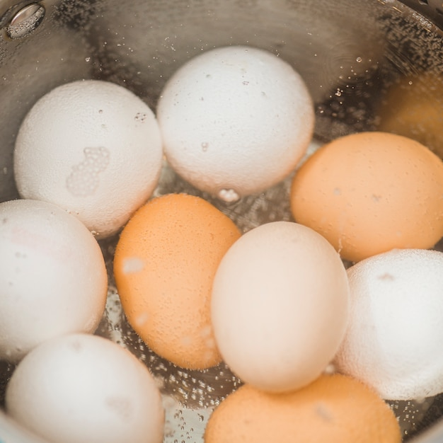 Close-up boiling eggs Free Photo
