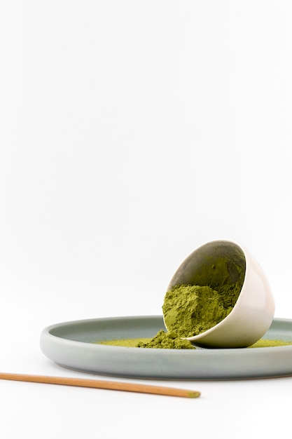 Close-up bowl with aromatic matcha powder Free Photo