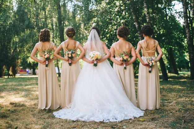 Close up of bride and bridesmaids bouquets Premium Photo
