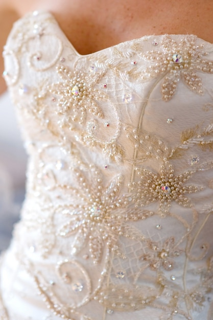 Close-up bridel wedding dress Premium Photo